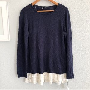 🔴 New Directions Navy Lace Hem Sweater Tunic
